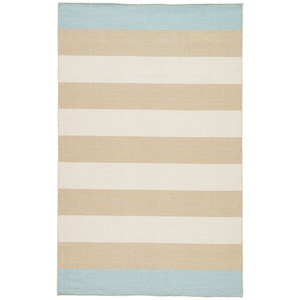 Mendocino Flat Woven Wool Tan Area Rug by Highland Dunes