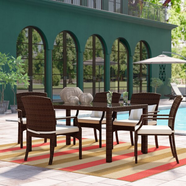 Finola 7 Piece Rectangular Patio Dining Set with Cushions by Beachcrest Home