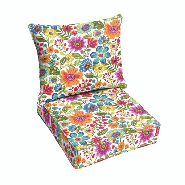 Paxton Floral Piped Indoor/Outdoor Lounge Chair Cushion by Andover Mills