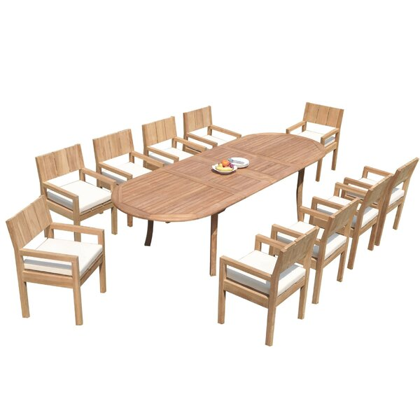 Flournoy 11 Piece Teak Dining Set by Rosecliff Heights