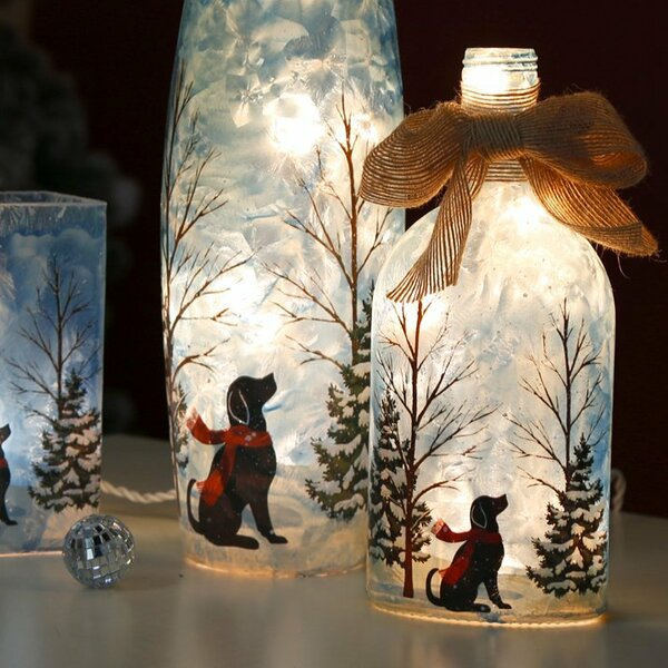 Lighted Frosted Dog Glass Bottle Luminary by Glitzhome