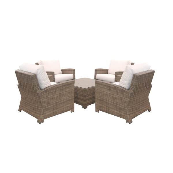 Norfolk 5 Piece Rattan Sunbrella Multiple Chair Seating Group with Cushions by Rosecliff Heights