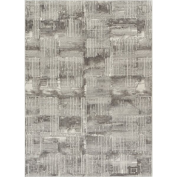 Cherree Geometric Abstract Gray Area Rug by Williston Forge