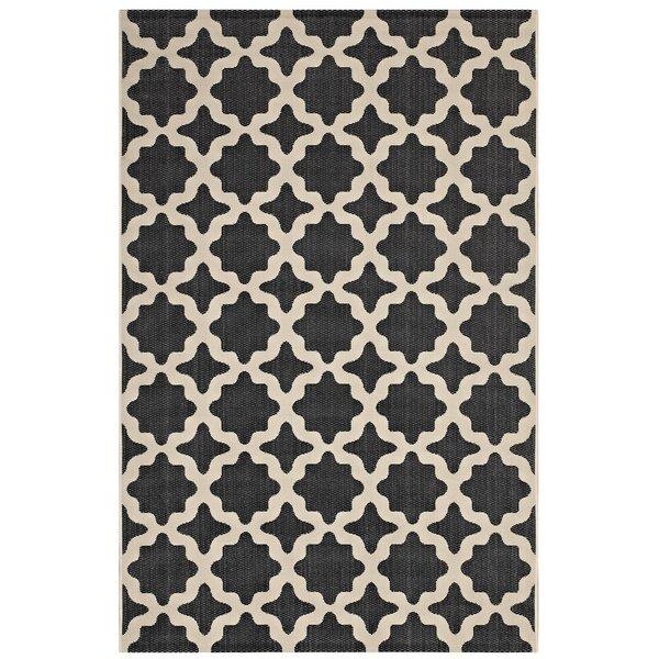 Hervey Bay Moroccan Trellis Black/Beige Indoor/Outdoor Area Rug by Charlton Home