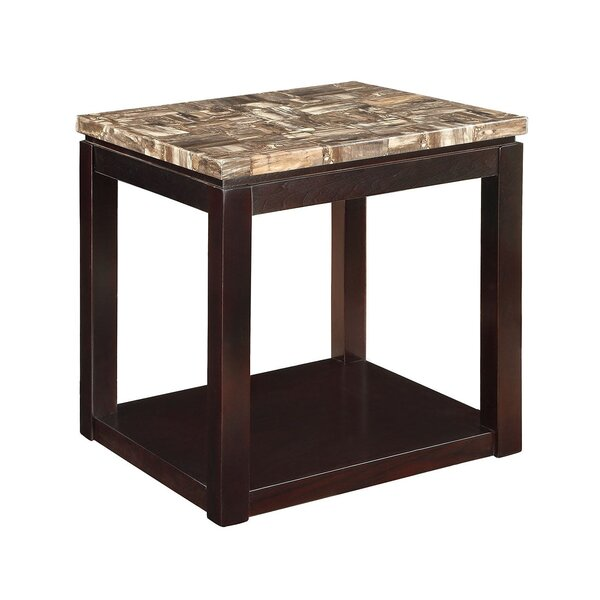 Matthies Marble Top Wooden End Table by Winston Porter
