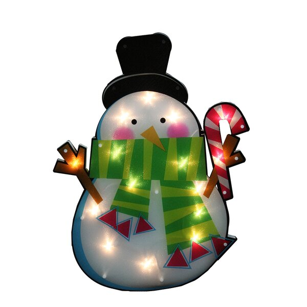 23.75 Lighted Shimmering Snowman with Candy Cane Christmas Window Silhouette Decoration by Northlight Seasonal