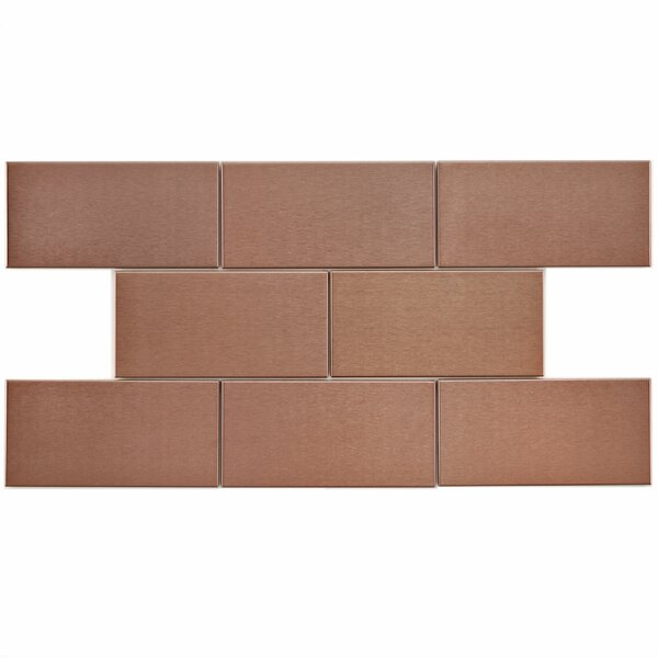 Vulcan 3 x 6 Stainless Steel and Porcelain Subway Tile in Copper by EliteTile