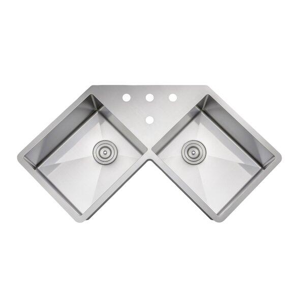 Butterfly 46 L x 32 W Double Basin Undermount Kitchen Sink