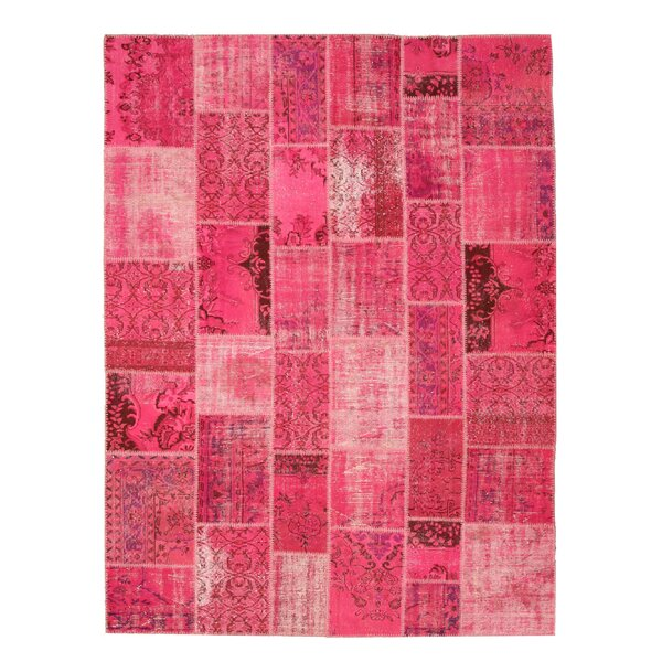 Naugawan Hand-Knotted Pink Area Rug by Meridian Rugmakers
