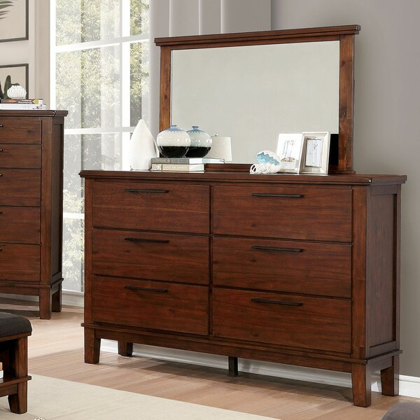 Crissyfield 6 Drawer Double Dresser with Mirror by Union Rustic