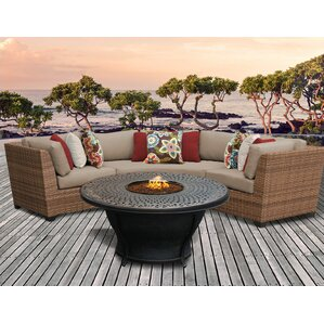 Laguna Outdoor Wicker 4 Piece Fire Pit Seating Group With Cushion