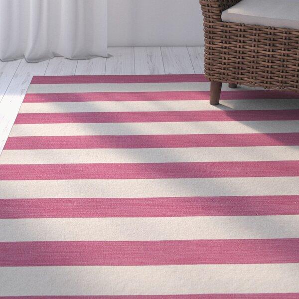 Holdsworth Pink & Ivory Stripe Area Rug by Highland Dunes