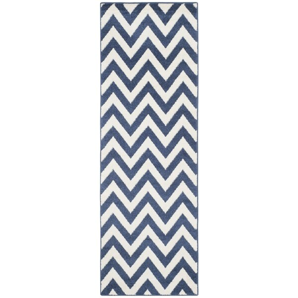 Currey Power Loomed Navy/Beige Indoor/Outdoor Area Rug by Mercer41