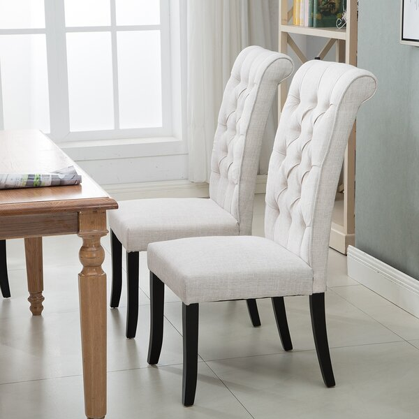 Seppo Tufted Linen Upholstered Wingback Side Chair In White By Red Barrel Studio