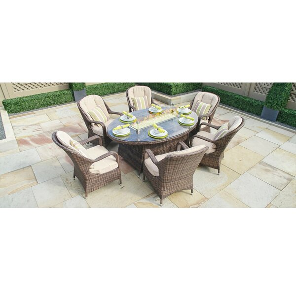 Leppert 7 Piece Dining Set with Firepit by Rosecliff Heights