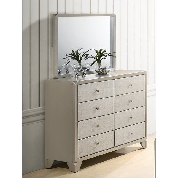 Yates 8 Drawer Double Dresser with Mirror by Rosdorf Park