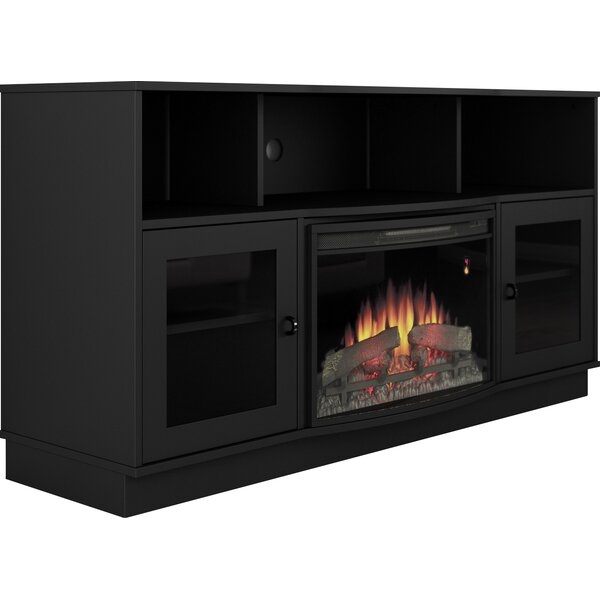 Contemporary 64 TV Stand with Fireplace by Furnitech