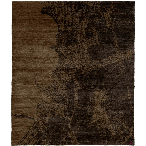 One-of-a-Kind Baragrey Hand-Knotted Traditional Style Brown 6' x 9' Wool Area Rug