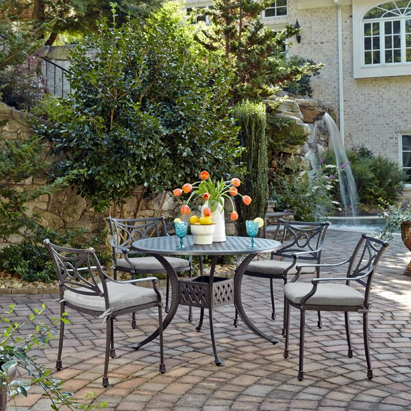 Flagg Cast Aluminum Outdoor 5 Piece Dining Set with Cushions by Darby Home Co