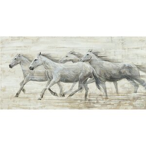 Horses in the Wind Painting on Wrapped Canvas by Laurel Foundry Modern Farmhouse