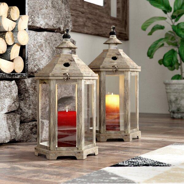 2 Piece Wood Lantern Set by Union Rustic