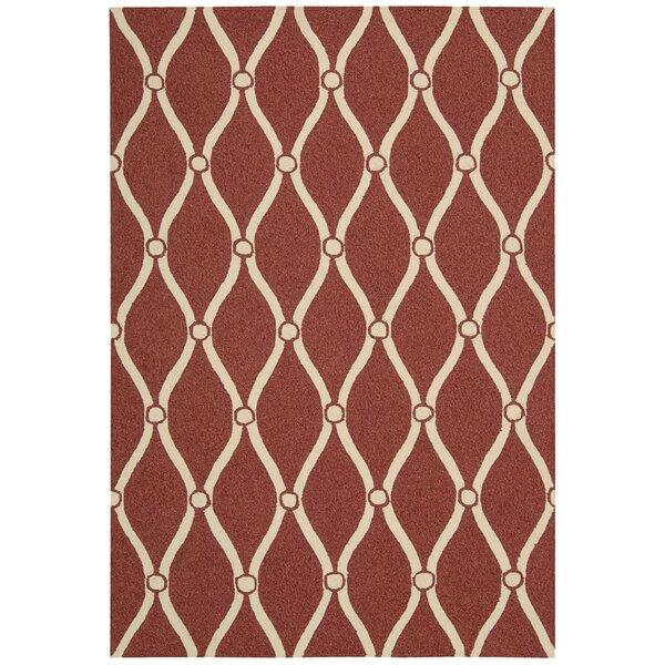Merganser Hand-Tufted Red/Beige Indoor/Outdoor Area Rug by Breakwater Bay