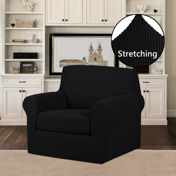 Review 2 Piece Jacquard Stretch Fit Leather-Safe Box Cushion Armchair Slipcover Set