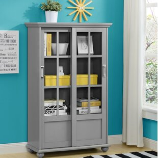 Gray Bookcase With Glass Doors