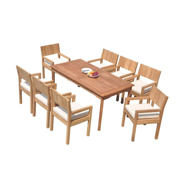 Sunglow 9 Piece Teak Dining Set by Rosecliff Heights