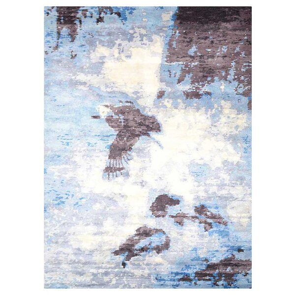 Johns Contemporary Hand-Knotted Wool Light Brown/Blue Area rug by Latitude Run