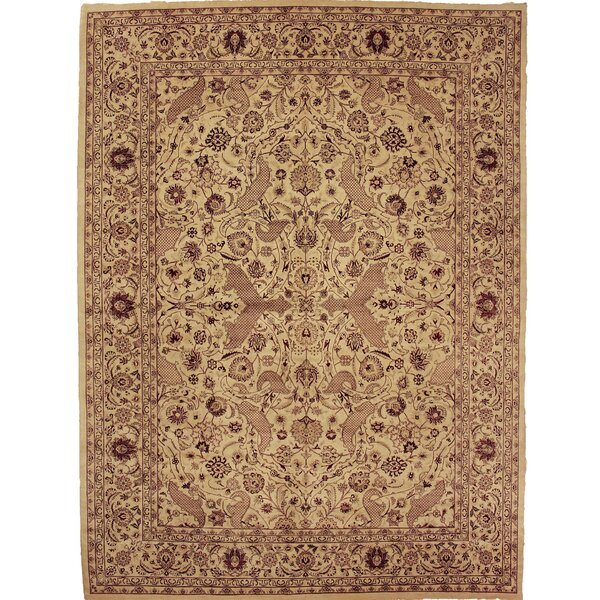 One-of-a-Kind Aaru Hand-Knotted Wool Tan/Ivory Area Rug by Isabelline