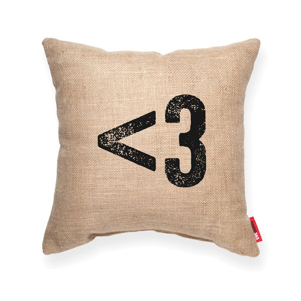 Symbol  3 Heart Decorative Burlap Throw Pillow by Posh365