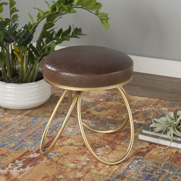 Lucas Leather Vanity Stool by World Menagerie