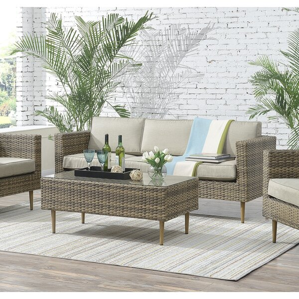 Charters Towers 4 Piece Rattan Sofa Seating Group with Cushions by Mercury Row