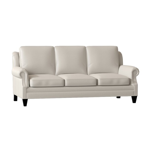 Roe Genuine Leather 86 Rolled Arm Sofa