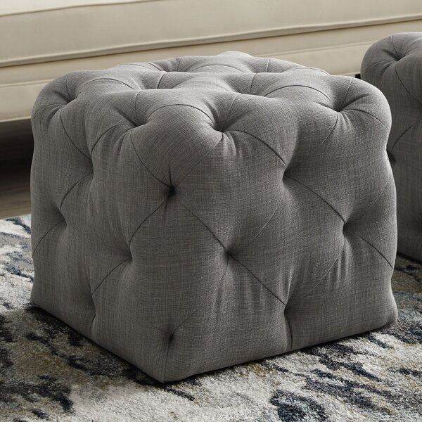 Risborough Tufted Cube Ottoman by Everly Quinn