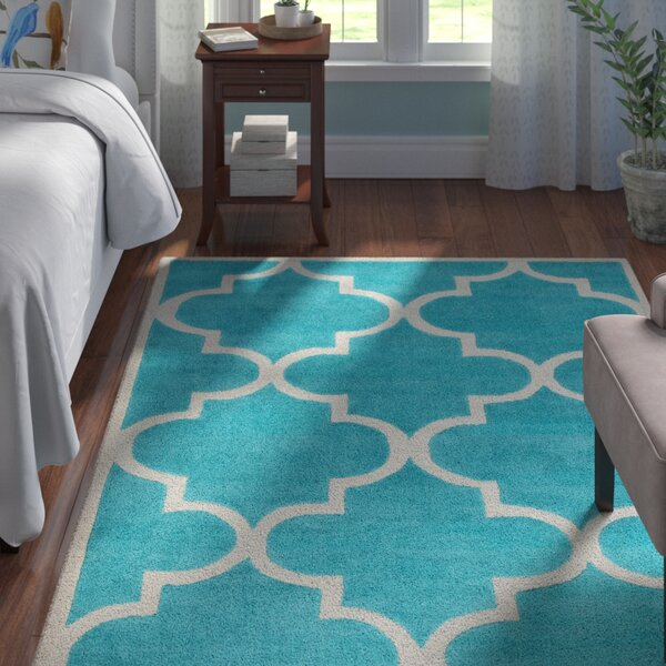 Duffield Teal Geometric Area Rug by Andover Mills