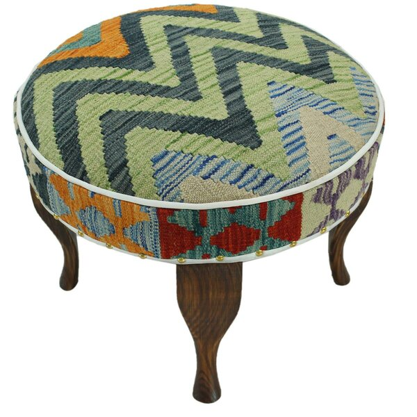 Stites Kilim Upholstered Handmade Ottoman by Bloomsbury Market