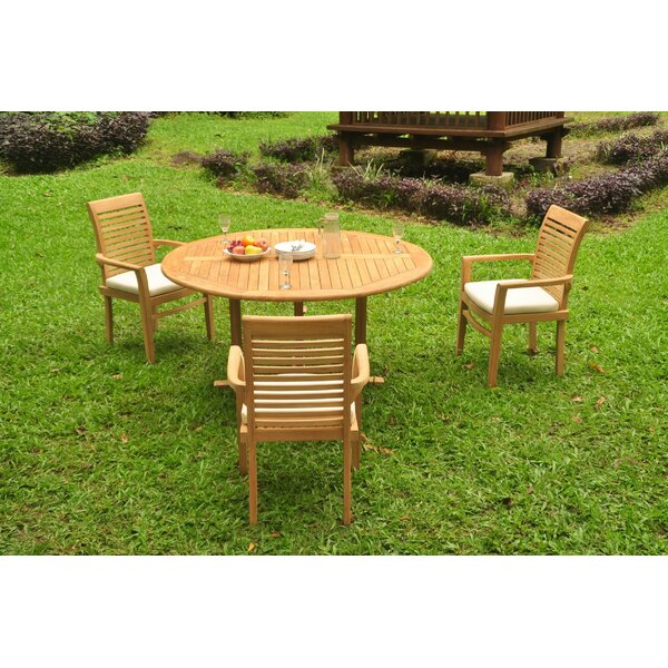 Soule 4 Piece Teak Dining Set by Rosecliff Heights