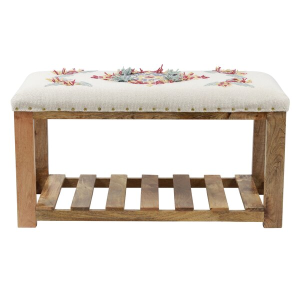 Mahia Wood Shelves Bench by Bungalow Rose