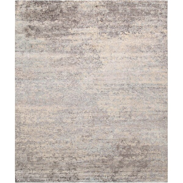 Modern Hand-Knotted Silver/Beige Area Rug by Pasargad
