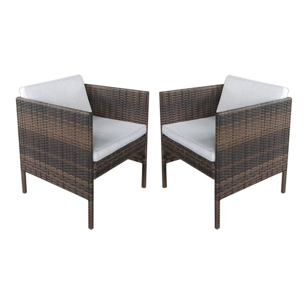 Leiston Wicker Arm Chair with Cushion (Set of 2) by Red Barrel Studio Red Barrel Studio