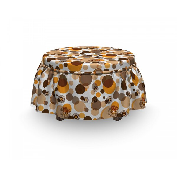 Earth Tones Chaotic Spots Rings 2 Piece Box Cushion Ottoman Slipcover Set By East Urban Home
