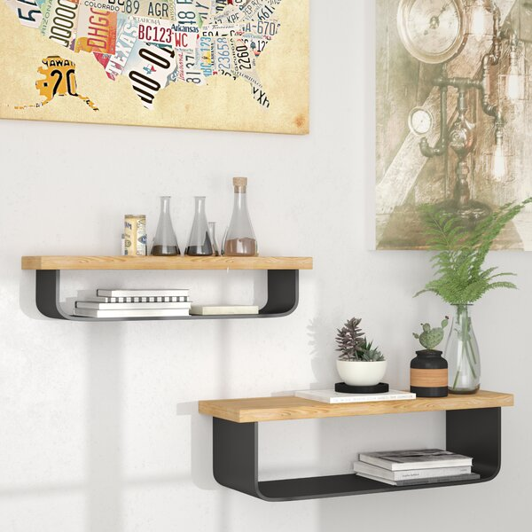Cosima Metal and Wood Wall 2 Piece Floating Shelf Set by 17 Stories