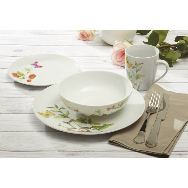 Loudon Botanical Butterflies 16 Piece Dinnerware Set, Service for 4 by Winston Porter
