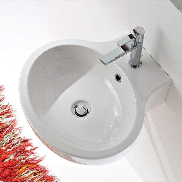 Planet Ceramic 20 Wall Mount Bathroom Sink with Overflow by Scarabeo by Nameeks