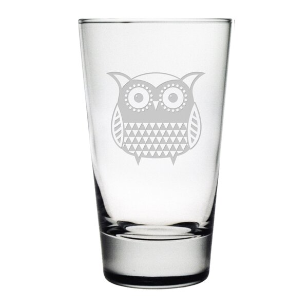 Folk Art Owl Hiball Glass (Set of 4) by Susquehanna Glass