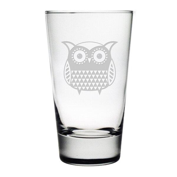 Folk Art Owl Hiball Glass (Set of 4) by Susquehanna Glass