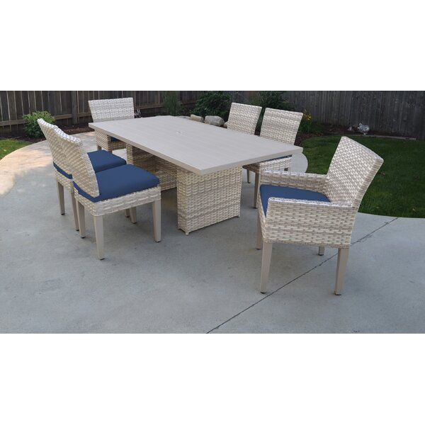 Genevieve 7 Piece Outdoor Patio Dining Set with Cushions by Rosecliff Heights