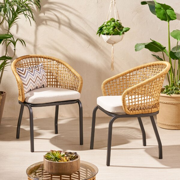 Monterey Outdoor Patio Chair with Cushions (Set of 2) by World Menagerie